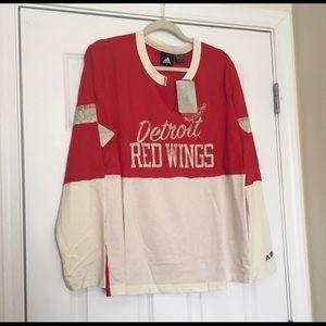 New XXL Adidas Red Wings NHL White Hockey Shirt